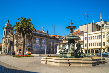 Igreja do Carmo church and Fountain of the Lions in porto, portugal