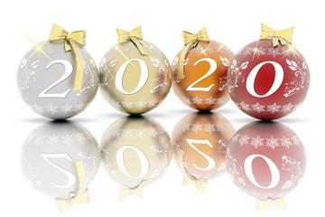 Anno nuovo 2020. Capodanno 2020 in numeri e con decorazione natalizia..