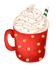Beautiful red cup. Hot chocolate and marshmallows. Watercolor illustration.