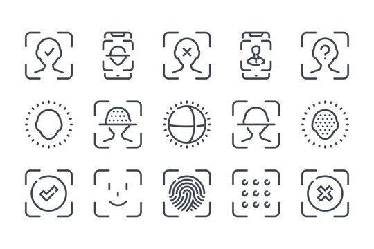 Face identification and recognition related line icon set. Technology scan access protection linear icons. Biometric authentication outline vector sign collection.