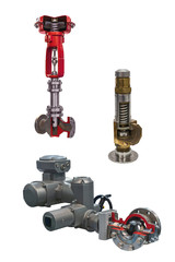 three modern shut-off valves with automatic control for gas pipeline isolated on a white background. Transverse section