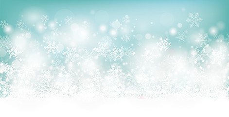 Soft Cyan Christmas Header White Snowflakes