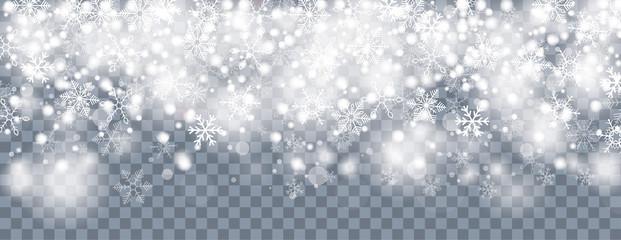 Snowfall White Snowflakes Bokeh Transparent Header