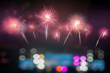 Colorful of fireworks in holiday festival from Pattaya Chonburi Thailand