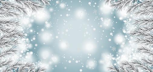 Frozen Branches Snowfall Christmas Header