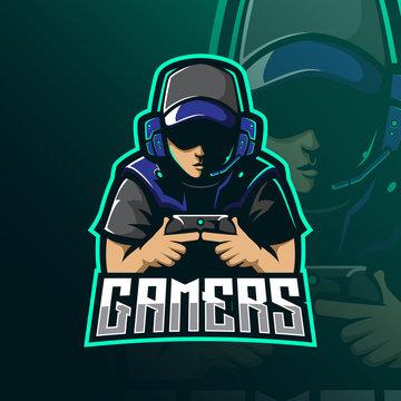 gamers mascot logo design vector with modern illustration concept style for badge, emblem and tshirt printing. gamer illustration for esport team.