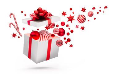 Offene Geschenkbox in Weiß und Rot mit Weihnachtsschmuck
