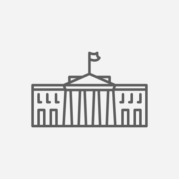 White house icon line symbol. Isolated vector illustration of icon sign concept for your web site mobile app logo UI design.