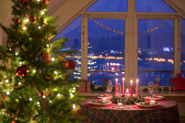 christmas decorated at home
