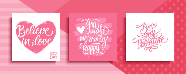 Poster Positive Typography Valentines Day romantic cards set. Happy Valentine's Day, 14 february holiday lettering greetings collection. Vector Illustration.