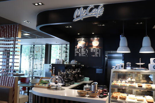 Amsterdam the Netherlands - July 22nd 2018: McCafe coffee counter