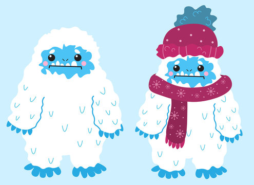 Cute snow yeti vector image. Isolated on light background