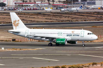 GetJet Airlines Airbus A319 airplane Gran Canaria airport