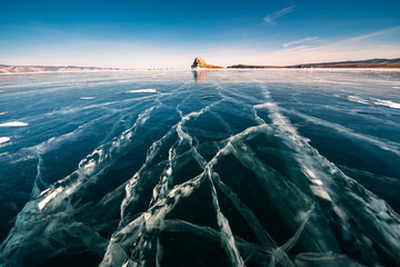 Natural breaking ice in frozen water at Lake Baikal, Siberia, Russia.