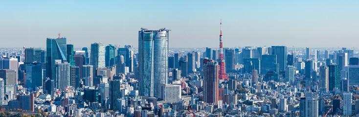 Spoed Fotobehang Tokio (東京都-風景パノラマ)ラウンジから望む六本木側風景2