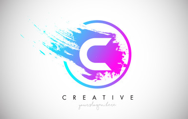 C Artistic Brush Letter Logo Design in Purple Blue Colors Vector