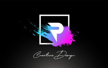 P Artistic Brush Letter Logo Design in Purple Blue Colors Vector