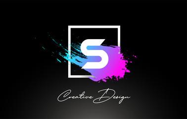 S Artistic Brush Letter Logo Design in Purple Blue Colors Vector