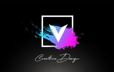 V Artistic Brush Letter Logo Design in Purple Blue Colors Vector
