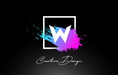 W Artistic Brush Letter Logo Design in Purple Blue Colors Vector