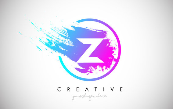 Z Artistic Brush Letter Logo Design in Purple Blue Colors Vector