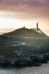 Cape Vilan Lighthouse, Cabo Vilano, in Galicia at sunset, Spain