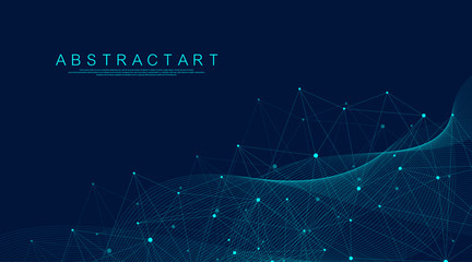 Abstract Big Data visualization digital network connection concept background. Artificial intelligence and engineering technology. Global network, Lines plexus, minimal array. Vector illustration. Wall mural