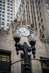Facade of the Chicago Board of Trade Building, an Art Deco skyscraper built in 1930, Chicago, Illinois, USA