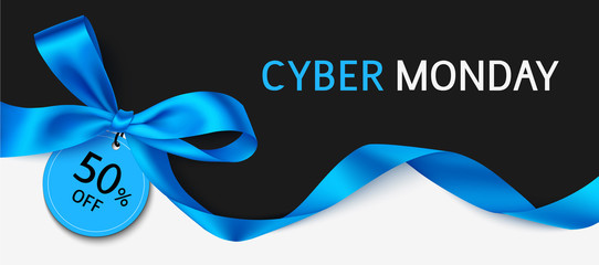 Wall Mural - Cyber monday sale design template. Black banner with blue and long ribbon. Vector illustration