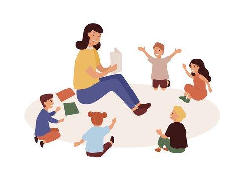 Smiling kindergarten teacher and kids flat vector illustration. Woman tutor and preschoolers reading in nursery. Babysitter and children cartoon characters. Primary education, preschool development.