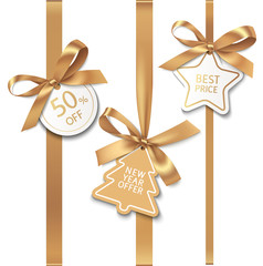 Set of New year sale decorations. Golden bow with price tag. Vector illustration