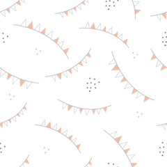 """Vector repeat pattern with grey and orange party flags on white background. Pastel colors. One of """" The Owls"""" collection patterns."""