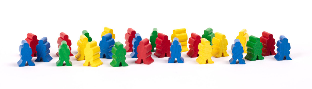 Wooden pawn leisure game figures - Isolated on white background