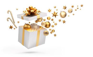 Offene Geschenkbox in Weiß und Gold mit Weihnachtsschmuck