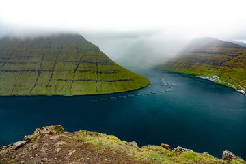 Top view of fjord in Faroe Islands