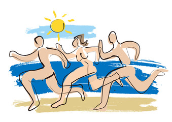 Nudists,Three running naked people. Lineart expressive illustration of two men and woman running on beach in summer. Vector available.