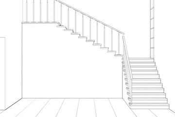 A sketch of an empty two-light living room with a stairwell. Front view. d render