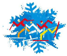 Cross Country Ski Racers, nordic skiing, grunge stylized.  A expressive funny drawing of cross country ski competitors. Illustration imitating linocut. Vector available.