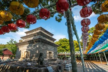 Bunhwangsa temple with ancient three stories stone pagoda and colourful lanterns in Gyeongju South Korea
