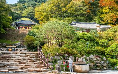 Seokguram grotto exterior wide view an hermitage of Bulguksa Temple complex in Gyeongju South Korea