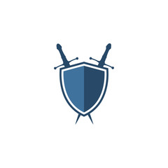 sword and shield logo vector design template