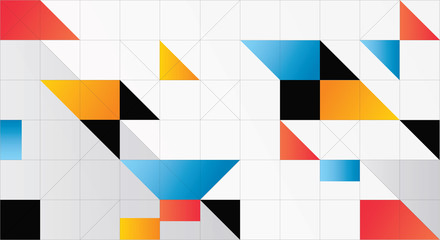 Minimalistic design, creative concept, modern diagonal abstract background Geometric element. Blue,yellow and red diagonal lines & triangles. vector-stock illustration. Vector geometric background