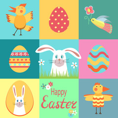 Happy easter. Set of elements for creating design cards, invitations, poster, banner. Easter icons. Easter bunny, painted eggs, rooster, chicken, bird with flower, lettering. Collection of pictures
