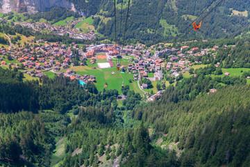 View of the Swiss Alps near the city of Lauterbrunnen. Switzerland.
