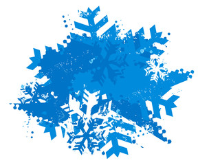 Snowflakes grunge background. Illustration of blue expressive winter background. Isolated on white background. Vector available.