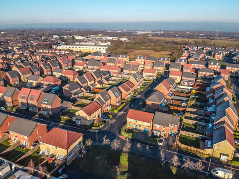 Aerial Houses Residential British England Drone Above View Summer Blue Sky Estate Agent