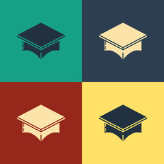 Color Graduation cap icon isolated on color background. Graduation hat with tassel icon. Vintage style drawing. Vector Illustration