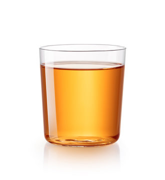 Glass of apple juice isolated on white background - clipping path included