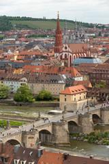Stadtansicht von Würzburg, Franken, Bayern, Deutschland