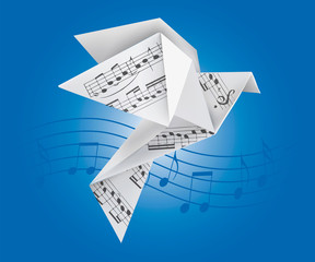 Origami dove with musical notes. Stylized illustration of paper pigeon on wave with musical notes on blue background. Vector available.